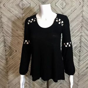 NWT Jessica Simpson black cut out peasant top